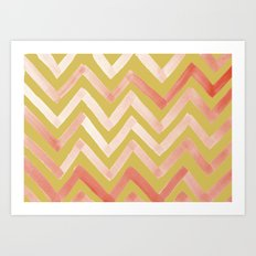 #02. Tierney (Chevrons, Gold variation for home accessories) Art Print