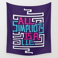 risa rodil Wall Tapestries featuring All Simplicity is a Lie by Risa Rodil