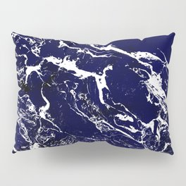 Modern Navy blue watercolor marble pattern Pillow Sham