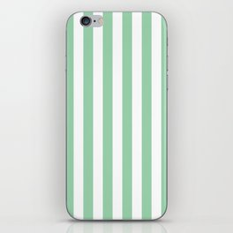 Mint Green Small Even Stripes iPhone Skin
