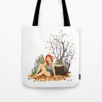 lydia martin Tote Bags featuring Lydia Martin, Autumn by strangehats