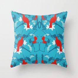 NZ Native Red Kereru (Wood Pigeon) and Fantail on Blue Throw Pillow