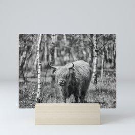 Scottish highlander cow! Mini Art Print