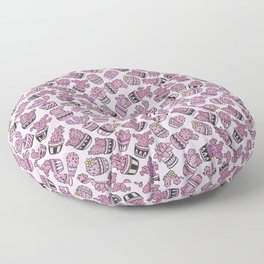 Mauve pink black yellow modern cactus floral pattern Floor Pillow