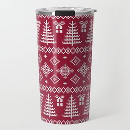 Christmas Tree Sweater Pattern - Classic Red Travel Mug