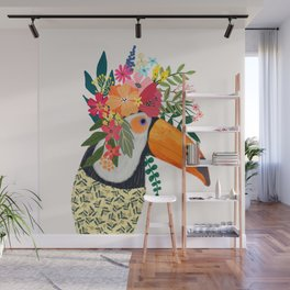 Toucan with flowers on head Wall Mural