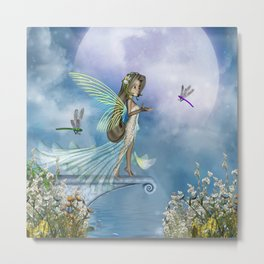 Little fairy with dragonfly Metal Print