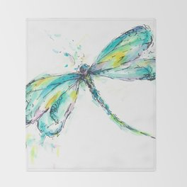 Watercolor Dragonfly Throw Blanket