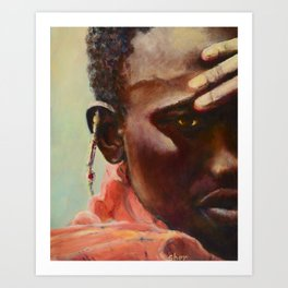 Dignity - Portrait of a Maasai Warrior. Oil on Canvas Art Print