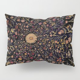 Medieval Flowers on Black Pillow Sham