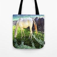 horses Tote Bags featuring horses by  Agostino Lo Coco