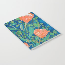 Coral Proteas on Blue Pattern Painting Notebook