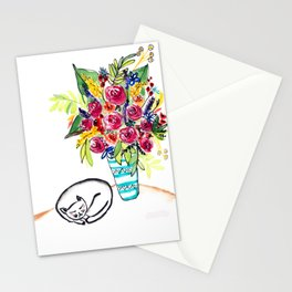 Sleeping cat next to a vase of roses Stationery Cards
