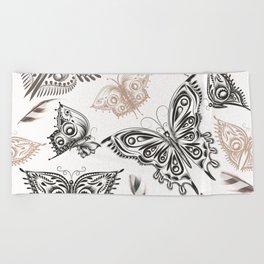 Butterfly design classic elegant graphic design Beach Towel