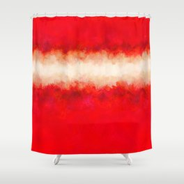 Bright Ruby Red & Cream Abstract Shower Curtain