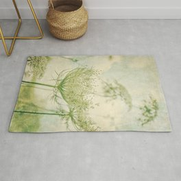 Sanctuary -- White Queen Anne's Lace Meadow Wild Flower Botanical Rug