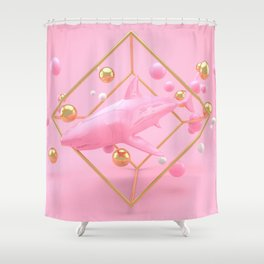 Shark in pink - Animal Display 3D series Shower Curtain