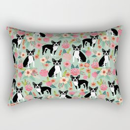 Boston Terrier florals dog breed pattern must have pupper gifts dog lovers Rectangular Pillow