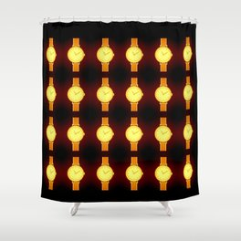 Luminous Wristwatches on Black Illustration Shower Curtain