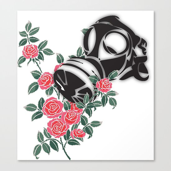 smell the roses - gas mask Canvas Print