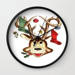 Reindeer Antlers and Christmas Stockings  Wall Clock