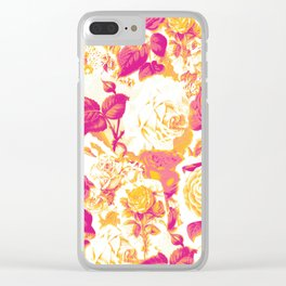 Vintage Floral Roses Clear iPhone Case