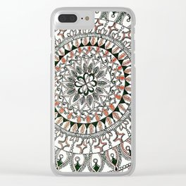 Zoomed in Angled Orange and Evergreen Mandala Clear iPhone Case