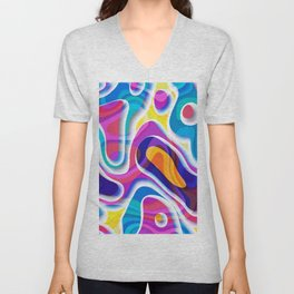 Bright colors paper cut out geometric pattern Unisex V-Neck