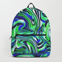 psychedelic wave pattern abstract painting in green and blue Backpack