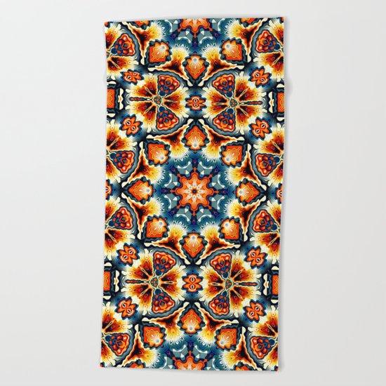 Colorful Concentric Motif Beach Towel