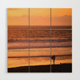 Surfer watching sunset in Southern California Wood Wall Art