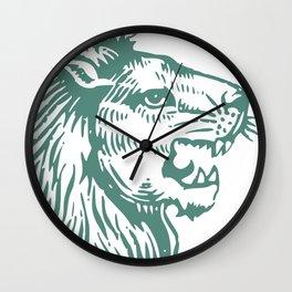 Lions Head Teal Wall Clock