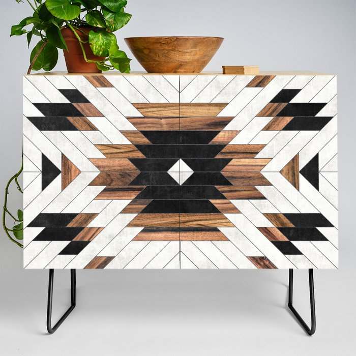 Urban Tribal Pattern No.5 - Aztec - Concrete And Wood Modern Credenza Cupboard by Zoltan Ratko - Black - Birch