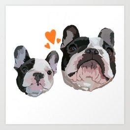 Frenchie French Bulldogs Love Art Print