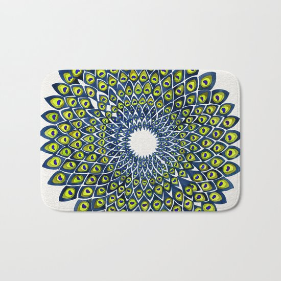 Peacock Feather Mandala – Navy & Lime Palette Bath Mat