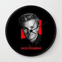 formula 1 Wall Clocks featuring Formula One - Nico Rosberg by Vehicle
