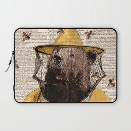 Bear print, Beekeeper Print, Brown bear Art Print, Bear wall art, Beekeeper, vintage dictionary page Laptop Sleeve