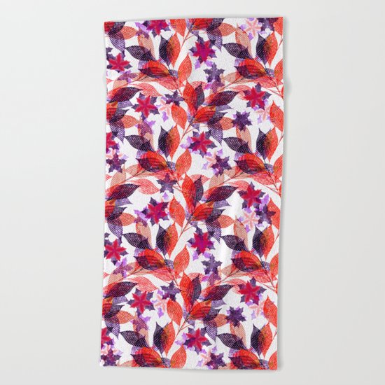 Red, or purple flowers and branches on a white background. Beach Towel