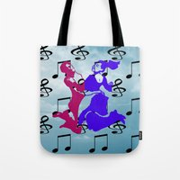 dancing Tote Bags featuring Dancing by Karl-Heinz Lüpke