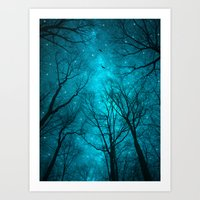 cats Art Prints featuring Stars Can't Shine Without Darkness  by soaring anchor designs
