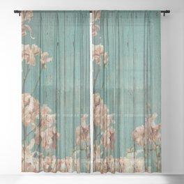 Sweet Flowers on Wood 02 Sheer Curtain