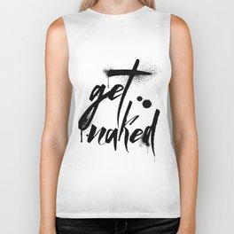 Get Naked, ink, paint, modern, black and white Biker Tank