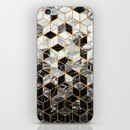 Marble Cubes - Black and White iPhone Skin
