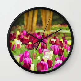 Painted Tulips Wall Clock