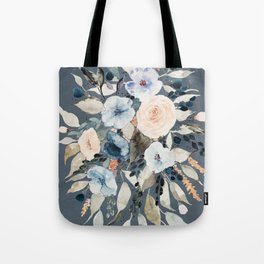 Loose Watercolor Bouquet on Blue Tote Bag