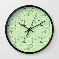 anchors Wall Clocks featuring Anchors by Meredith Jensen