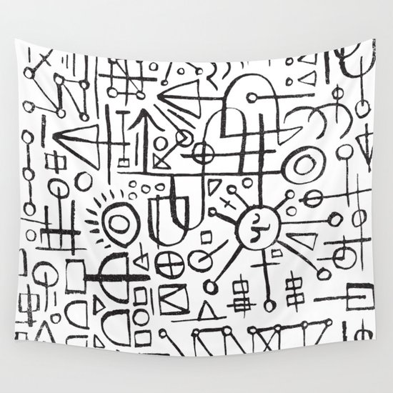 ALIEN WRITING Wall Tapestry