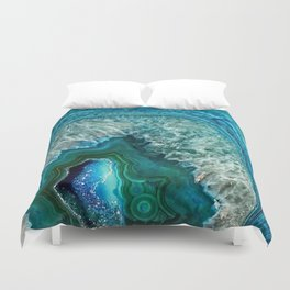 Aqua turquoise agate mineral gem stone - Beautiful Backdrop Duvet Cover
