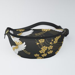 flower bird traditional patterns in japanese design - yellow on black background Fanny Pack