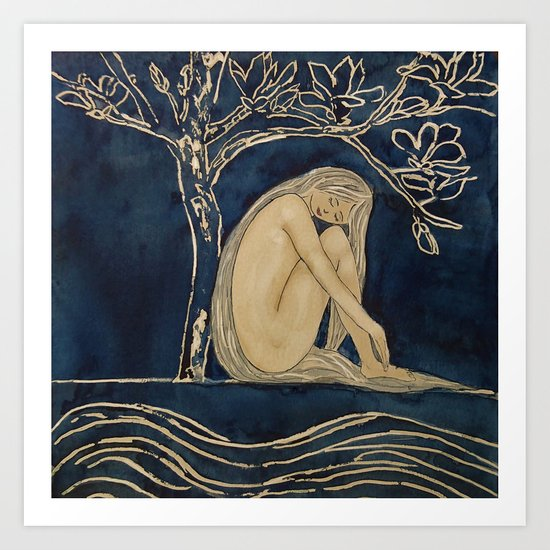 Girl sleeping under magnolia flowers Art Print